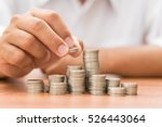hand add coin to coin stack ... | Shutterstock . vector #526443064