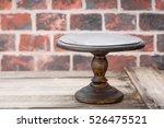 cake plate on vintage wooden...