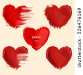 set of vector watercolor hearts ... | Shutterstock .eps vector #526476169