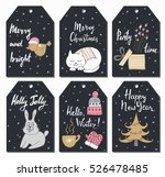 christmas tags set with cute... | Shutterstock .eps vector #526478485