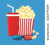 popcorn and drink. film strip... | Shutterstock .eps vector #526479349