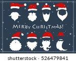 vector. santa hats  moustache... | Shutterstock .eps vector #526479841