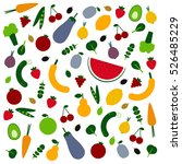 amazing fruits and veggies flat ... | Shutterstock .eps vector #526485229