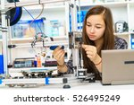 girl in robotics class research ... | Shutterstock . vector #526495249