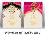 indian wedding card  gold and... | Shutterstock .eps vector #526501069
