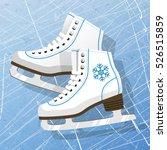 pair of white ice skates.... | Shutterstock .eps vector #526515859
