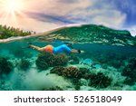 swimming activity in tropical... | Shutterstock . vector #526518049