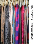 a lot of colorful scarves... | Shutterstock . vector #526520701
