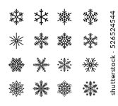 snowflake icons black vector... | Shutterstock .eps vector #526524544