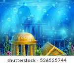 underwater ruins with a set of... | Shutterstock .eps vector #526525744