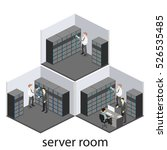 isometric interior of server... | Shutterstock . vector #526535485