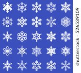 snowflakes set on blue...   Shutterstock . vector #526539109
