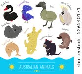set of cute cartoon australian... | Shutterstock . vector #526540171