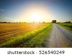 A Country Road At Sunset In Th...