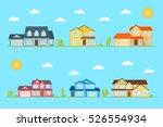 neighborhood with homes... | Shutterstock .eps vector #526554934