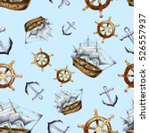 sketch sea navigation seamless... | Shutterstock . vector #526557937