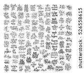 mega set of 100 black and white ... | Shutterstock .eps vector #526558615