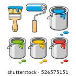 paint brush  roller and bucket... | Shutterstock .eps vector #526575151