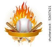 Baseball Flames Design Element