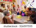 group of old friends and family ... | Shutterstock . vector #526597555