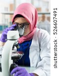 muslim lab worker doing an... | Shutterstock . vector #526607491