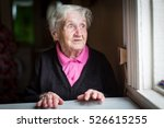 Elderly Woman Surprised Stares...