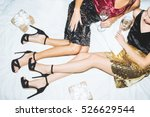 two girls in shiny skirts with... | Shutterstock . vector #526629544