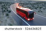 touristic red bus on highway.... | Shutterstock . vector #526636825