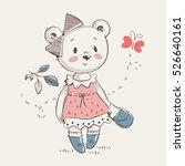 cute little bear girl in dress... | Shutterstock .eps vector #526640161