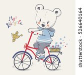 Cute Bear Riding A Bicycle...