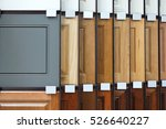 Stock photo wood cabinet door samples in market in a row 526640227