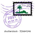 postage stamp with palm  vector ... | Shutterstock .eps vector #52664146
