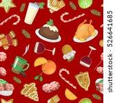 christmas food pattern vector... | Shutterstock .eps vector #526641685