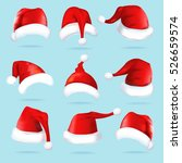 set of hats for santa on blue... | Shutterstock .eps vector #526659574