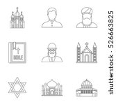 religious faith icons set.... | Shutterstock .eps vector #526663825