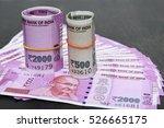 Small photo of 2000 and 500 rupee banknote India,The brand new Indian currency notes of 2000 and 500 rupees isolated on black. These have been introduced to curb black money. Success and got profit from business