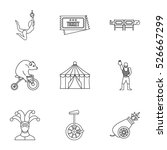 circus chapiteau icons set.... | Shutterstock .eps vector #526667299