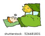 tired lazy man sleep in the bed ... | Shutterstock .eps vector #526681831