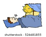 tired lazy man sleep in the bed ... | Shutterstock .eps vector #526681855