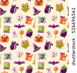illustration halloween seamless ... | Shutterstock . vector #526696561