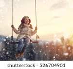 Happy Child Girl On Swing In...