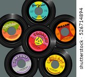 retro style 45 record label...   Shutterstock .eps vector #526714894