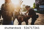 terrorists with weapon captured ... | Shutterstock . vector #526717261