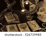 still life with the tarot cards ... | Shutterstock . vector #526719985