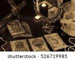 still life with the tarot cards ... | Shutterstock . vector #526719985