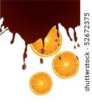 chocolate splash with oranges | Shutterstock .eps vector #52672375