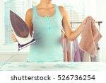 closeup of woman ironing... | Shutterstock . vector #526736254