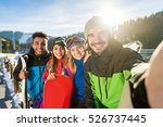group of people ski snowboard... | Shutterstock . vector #526737445