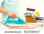 closeup of woman ironing... | Shutterstock . vector #526738537