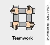 teamwork handshake minimalistic ... | Shutterstock .eps vector #526744414